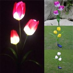 Solar Power Tulip Flower Garden Stake Landscape Lamp Outdoor Yard LED Light