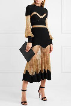 Alexander McQueen | Metallic open-knit and ribbed wool-blend midi dress | NET-A-PORTER.COM