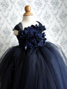 Flower girl dress Navy Blue tutu dress flower top by FashionTouch, $70.00