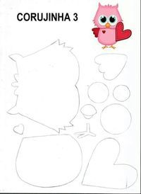 Coruja,appliqué or paperpiecing Owl Patterns, Paper Piecing Patterns, Applique Patterns, Quilt Patterns, Owl Crafts, Diy Arts And Crafts, Paper Crafts, Owl Applique, Owl Templates