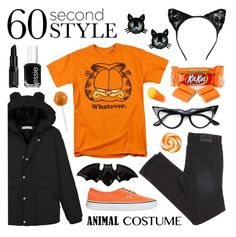 """Happy Halloween! - 60 Second Style"" by lgb321 ❤ liked on Polyvore featuring Fitz & Floyd, Betsey Johnson, Vans and Essie"