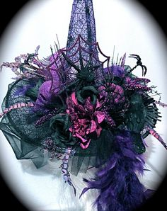 Purple Spider Witch Hat Halloween Costume by Marcellefinery