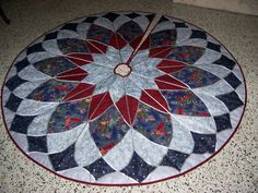 Stain Glass Christmas Tree Skirt Cranberry, Blue, Silver Multiple color options