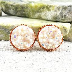 Bridesmaid Earrings  White Druzy Stud Bridesmaid Earrings  | Etsy