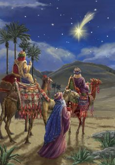The Star of Bethlehem.The three wise men Christmas Nativity Scene, Christmas Scenes, Christmas Pictures, Christmas Holidays, Merry Christmas, Nativity Scenes, The Nativity, Christmas Bells, Vintage Christmas Cards