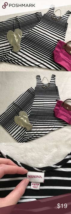Merona black and white striped maxi dress Soft and stretchy maxi dress from Merona in black and white. Just throw it on and go! In excellent condition. See my other listings for Loft necklace and Splendid flip flops - bundle to save! Merona Dresses Maxi