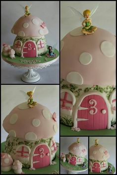 Love the toadstool cake with faires Fairy Birthday Party, 3rd Birthday Parties, Birthday Cakes, Birthday Ideas, Fairy House Cake, Toadstool Cake, Mushroom Cake, Tinkerbell Party, Fairy Cakes