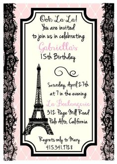 """Printed Eiffel Tower, Parisian Theme Birthday, Bridal Shower or Party Invitation - Size A7 (5""""x7"""") with Envelopes"""