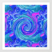 Art Print featuring Psychedelic Blues by LebensART