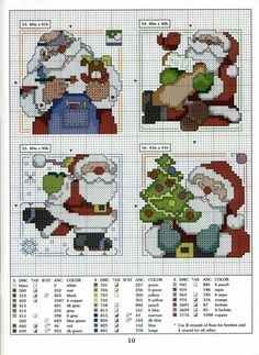 More cute Santa designs Santa Cross Stitch, Mini Cross Stitch, Beaded Cross Stitch, Cross Stitch Charts, Cross Stitch Designs, Cross Stitch Embroidery, Cross Stitch Patterns, Cross Stitch Christmas Ornaments, Christmas Embroidery