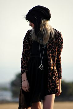 Galore Beneath the Stars: Leopard cardigan and black dress