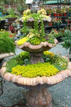 "You don't need a three-tiered water feature to adapt this ingenious idea of a succulent ""fountain"" for  your own garden. But it certainly is dramatic!"