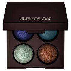 Laura Mercier Baked Eye Colour Quad in Summer in St. Tropez - deep cobalt blue/ matte teal blue/ pearly pale blue/ pearly dark bronze #sephora