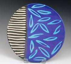 © 2014 Ann Lindell Ceramics | Luncheon Plate | Wheel-thrown stoneware, layered glazes, wax resist decoration. ^6 Oxidation