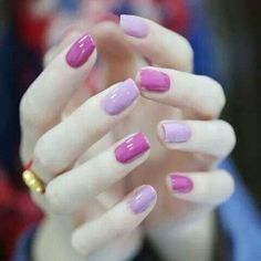 Two color tone purple nails- love these. Solid Color Nails, Nail Colors, Perfect Nails, Gorgeous Nails, Gradient Nails, Acrylic Nails, Coffin Nails, Cute Nails, Pretty Nails