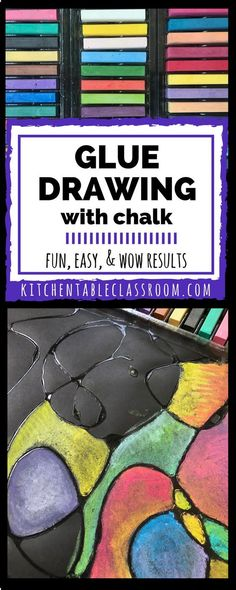 Glue Drawing with Chalk Glue drawing adds a third dimension to the art of drawing. This project can be made easy or intense and can be easily adapted to any age or skill level. Projects For Kids, Crafts For Kids, Arts And Crafts, Easy Art Projects, School Projects, Middle School Art, Art School, High School, Ecole Art