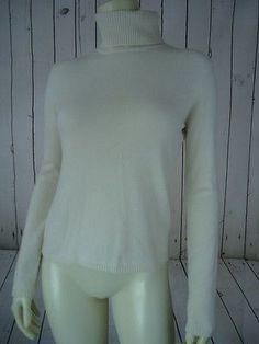 ANN TAYLOR Cashmere Sweater M Two-Ply Vanilla Cream Pullover Turtleneck CHIC!