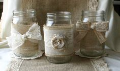 VINTAGE lace wedding JARs Burlap wedding by Bannerbanquet on Etsy