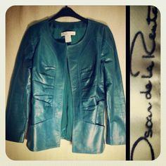 Oscar de la Renta 2,100.00 pleated teal leather jacket sz. XS; RR Price: 275.00  http://resaleriches.mybisi.com/product/odlrleatherjacket