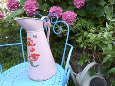 Antique French enamel water pitcher jug w by MyFrenchAntiqueShop, $165.00