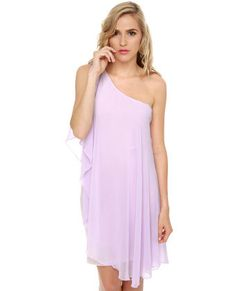 Set your sights on the Pastel-ivision One Shoulder Lavender Dress and rock the palette of the season! An asymmetrical, palest purple tank dress is draped in a sheer chiffon overlay that sweeps from a gathered shoulder into a fluttery open sleeve, and all the way to the hem. Fully lined.