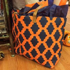 Navy and Orange Game-day Tote