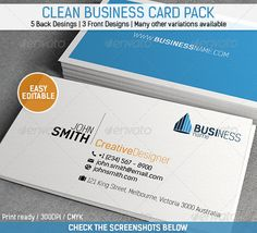 """Clean Business Card Pack #GraphicRiver General Description This Clean Business Card Pack goes for a simple and clean look, meant both for Professional and Personal use. This pack contains 5 different back designs and 3 front designs giving you so many choices. Many others variations are available through icons and descriptive text. Details Fully Layered PSD files Fully Customizable and EASY to edit CMYK Setting 300 DPI High Resolution 3.5"""" x 2""""(3.75"""" x 2.25"""" with bleed setting) Print Ready…"""