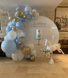Eddie's Christening balloon setup in light blue, white, and gold balloons Setup & Desserts Balloons Baptism Party Decorations, Baby Shower Decorations For Boys, Balloon Decorations, Baby Shower Themes, Baby Boy Christening Decorations, Baptism Themes, Christening Balloons, Christening Party, Baby Boy Baptism