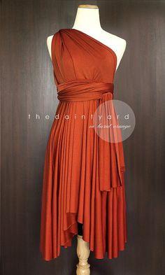 Burnt Orange Bridesmaid Dress Convertible Dress by thedaintyard