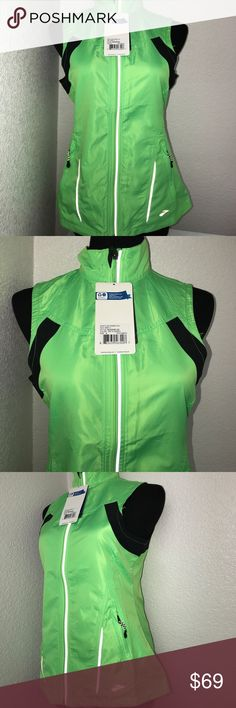Brooks running vest small Nwt This is s bright neon green vest but unfortunately the picture doesn't justify the real color and beauty of the vest. Brooks Jackets & Coats Vests