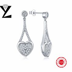 2016 Sunmmer Style Silver 925 Earrings Sweet Wedding Romance Heart Earrings for Women AAA Cubic Zirconia Sweet Lovely YL Jewelry
