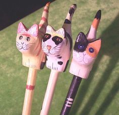 Whimsical Trio of Painted Wooden Cats on rods -Let them stalk your potted plants