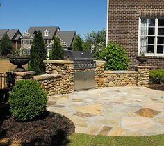 We used river rock, which is normally used in creek beds, on this outdoor kitchen.