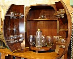 Vintage Whiskey Barrel Bar