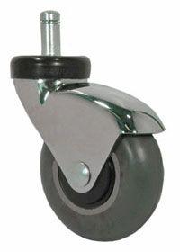 "3"" Gray Rubber - Chrome Elite Chair Caster"
