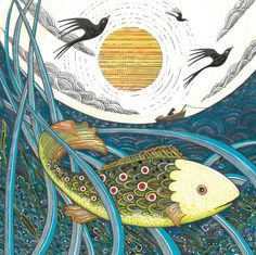 'In Amongst The Reeds' By Painter and Illustrator Karen Jones. Blank Art Cards By Green Pebble. www.greenpebble.co.uk