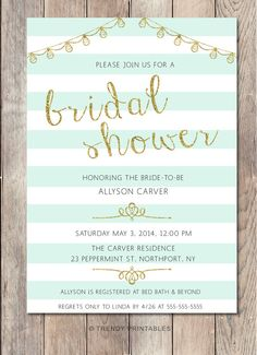 AVAILABLE HERE:  https://www.etsy.com/listing/202774679/mint-green-bridal-shower-invitation?ref=shop_home_active_1