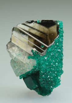 Dioptase on Cerussite, from the Tsumeb Mine, Namibia