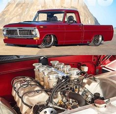 Hot Wheels - Cool shot of the Ford packing that big block power, so tough! Chevy Diesel Trucks, Ford Pickup Trucks, Chevrolet Trucks, Chevy C10, 1957 Chevrolet, Chevrolet Impala, Hot Rod Trucks, New Trucks, Cool Trucks