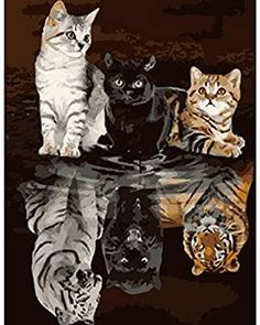 Amazon.com: ROLEES Christmas Paint by Number Kits 16 x 20 inch Canvas DIY Oil Painting for Kids, Students, Adults Beginner with Brushes and Acrylic Pigment - Cute Cats and Reflection Like Tigers (Without Frame) Catwoman Arkham City, Cute Cat Wallpaper, Anime Cat, Animal Posters, Cute Animal Drawings, 5d Diamond Painting, Infant Activities, Print Artist, Cool Artwork