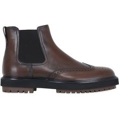 Tod's Men Brogue Leather Chelsea Boots (5,530 CNY) ❤ liked on Polyvore featuring men's fashion, men's shoes, men's boots, brown, mens brown shoes, mens brown wingtip boots, mens chelsea boots, mens boots and mens leather chelsea boots