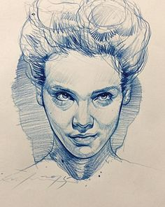 Artist: Alvin Chong, color pencil, 2015 {figurative art female head woman face…