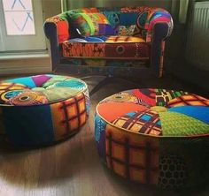 African print chair and ottoman                                                                                                                                                     More