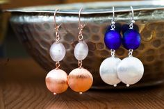 Copper and silver plated copper, with handmade murano-glass beads
