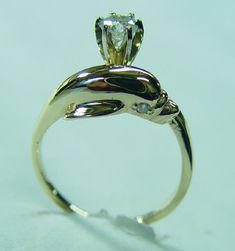 dolphin engagement rings 14k White Gold Fashion Heart Love