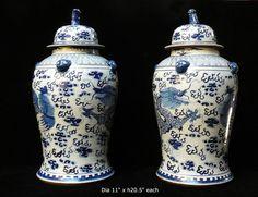 Pair Chinese Blue & White Porcelain Temple General Jars vs600