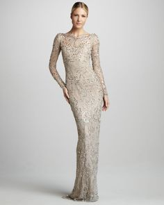 Marchesa Embellished lace gown