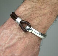 Unisex Bracelet, Men's Bracelet,Leather Men Bracelet, women's Leather Bracelet,Brown leather with metal accessory