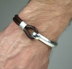 Unisex Bracelet, Men's Bracelet,Leather Men Bracelet, women's Leather Bracelet,Brown leather with metal accessory