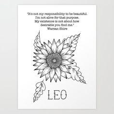 Leo Art Print by luckylittlequeer Leo Zodiac Tattoos, Leo Tattoos, Astrology Leo, Leo Horoscope, Mystic Words, Birthmark Tattoo, Leo Constellation Tattoo, Leo Tattoo Designs, Zodiac Art